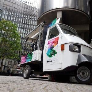 Coffee van parked outdoors