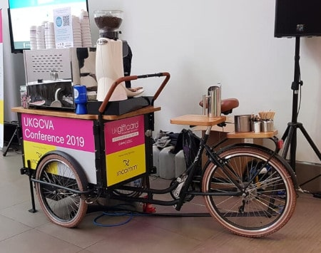 mobile coffee trike branded