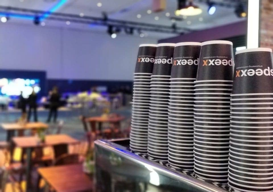 customisable coffee paper cups stacked
